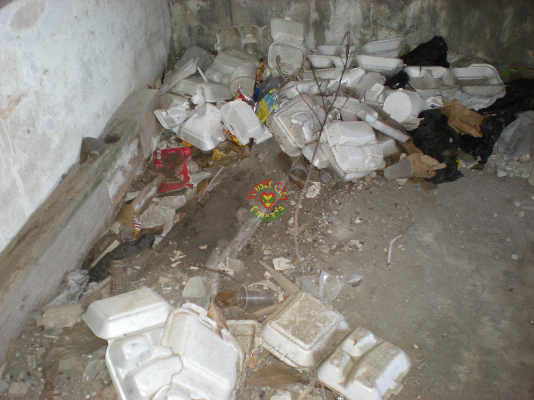 Garbage in abandon building on Queen Street