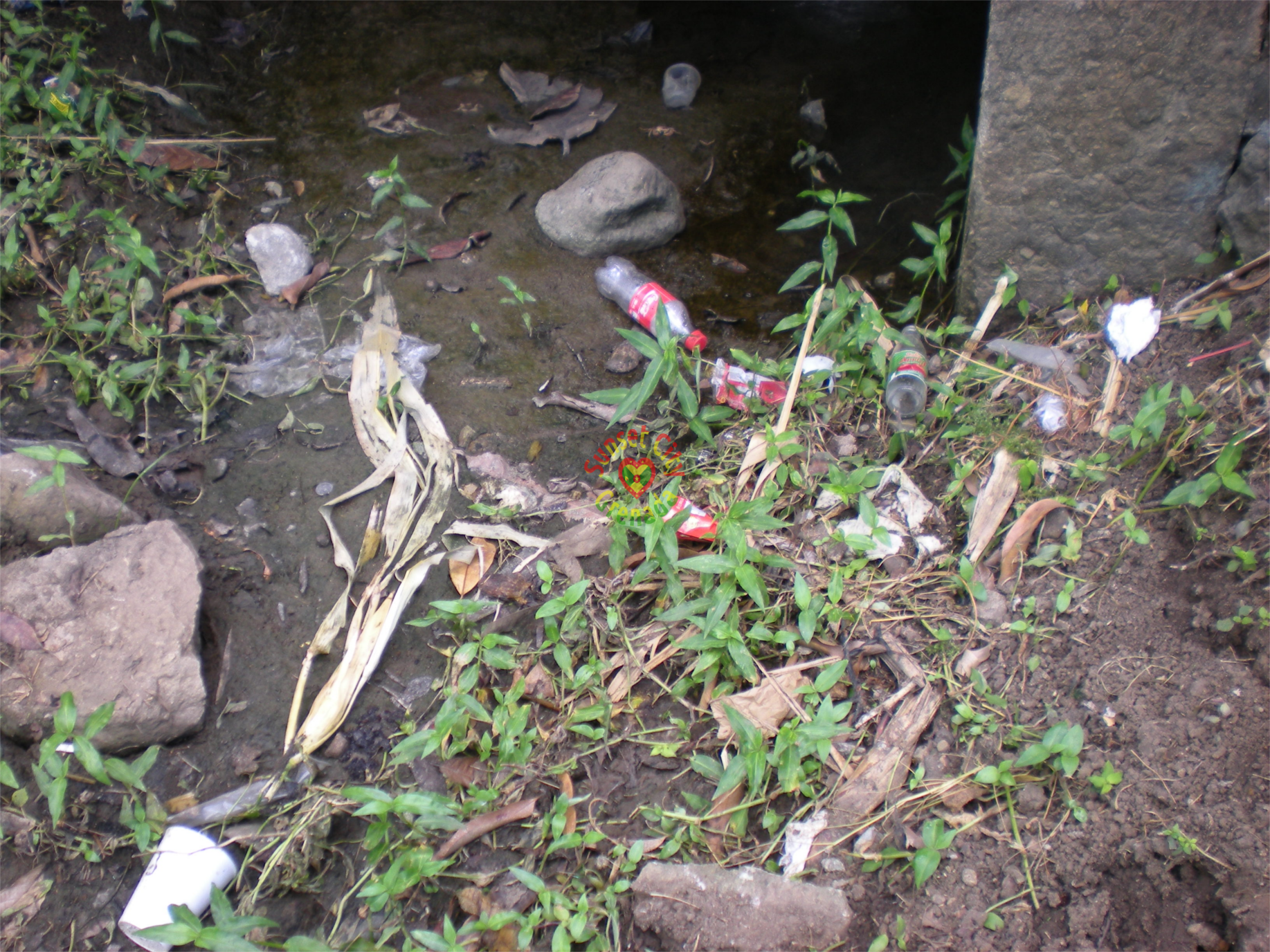 Garbage dumped in a drain leading to Diamond Estate - garbage disposal bin is less than 10 meters way