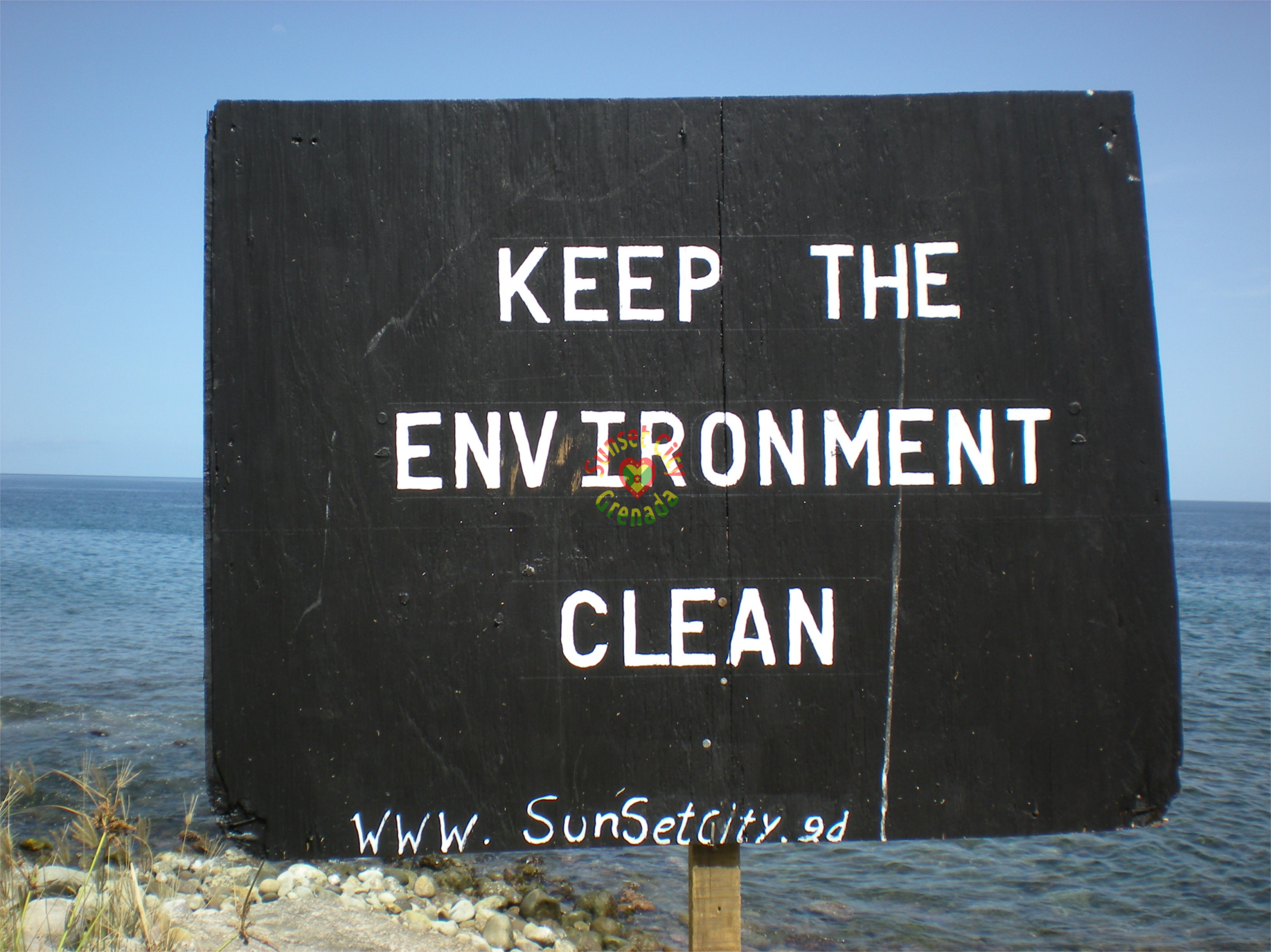 Keep The Environment Clean - sign sponsored by Sunset City Grenada