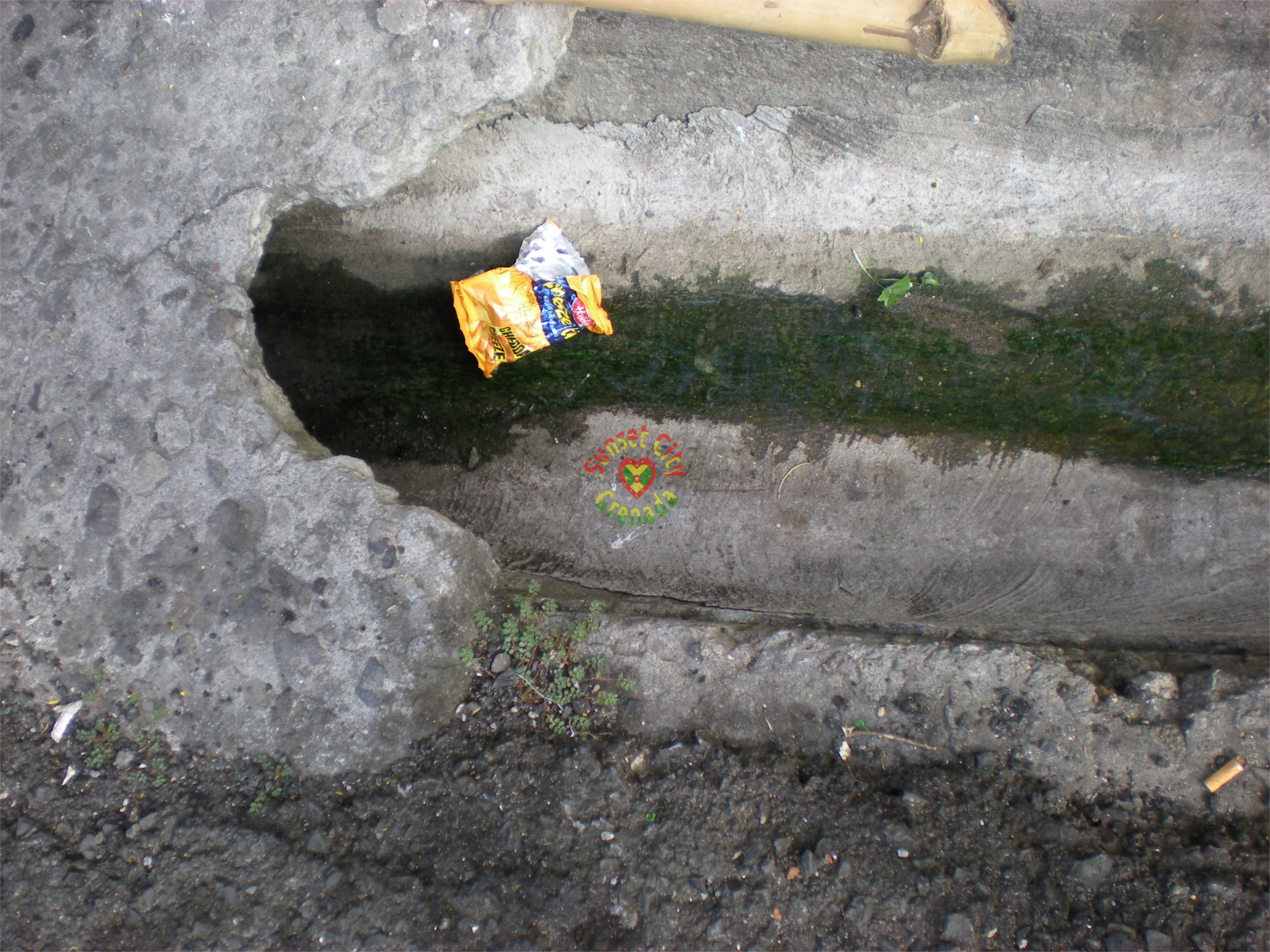 Wrapper from snack dumped in drain on Diamond Street